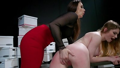 Crazy lesbian dominance with two hotties