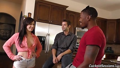 Wife gets BBC in all holes and creampie in front of cuckold