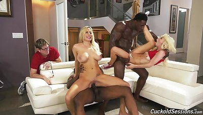 Black guys destroy wet Kenzie Reeves's pussy with monster dicks