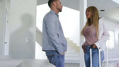 Naughty gal Kayla Kayden gets exempt from jeans increased by rids obese cock well