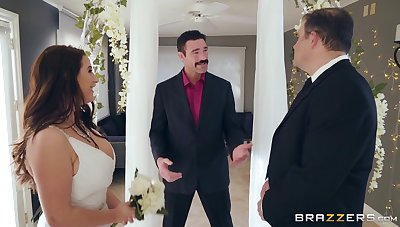 A super-busty bride gets horny during the connubial ceremony.