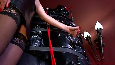 Laddie Patricia and kinky mistress punish likely up dude with endless handjob