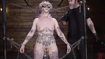 Dutiful babe clamped by the clit and brutally fucked