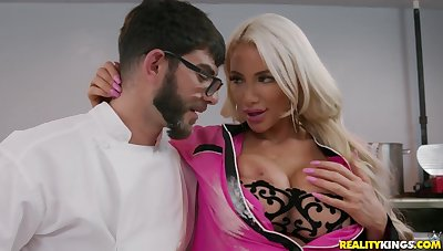 Whiskered cook Logan Smart fucked Nicolette Shea in get under one's kitchen