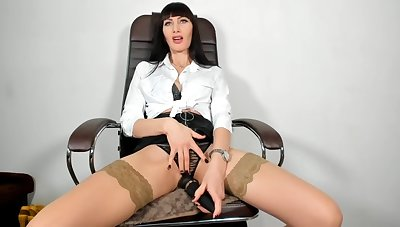 Stylish secretary masturbate