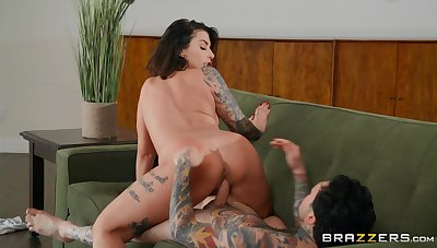 Tattooed looker sucks dick then rides it in perfect XXX scenes