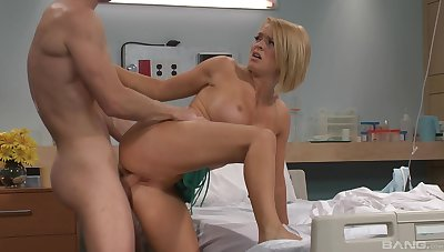 Horny turns out that persuades hot blonde nurse Krissy Lynn to shot at sex with him