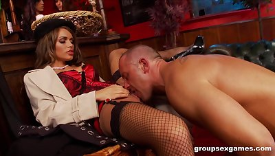 Amy Azzura and Anna Lovato fucked in a nasty massive group sex