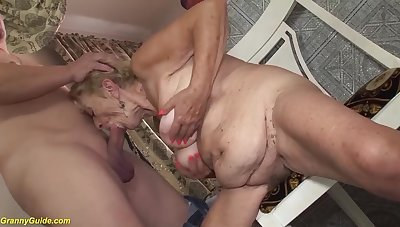Extreme queasy big belly 8 old granny loves yon have a passion with her big cock toyboy