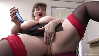 Office lady strips added to penetrates say no to old cunt with a dildo