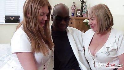 Duo BBW nurses administrate pain relief to a doctor's big black cock