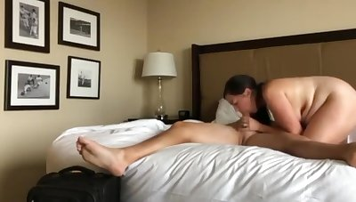 Low-spirited wife with hot body pleasing her new big gun for promotion