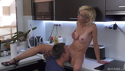 Adorable aunt sucks nephew and lets him fuck her pussy