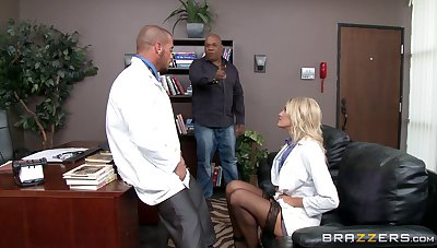 Horny blonde doctor Audrey Show loves to have sex in her office