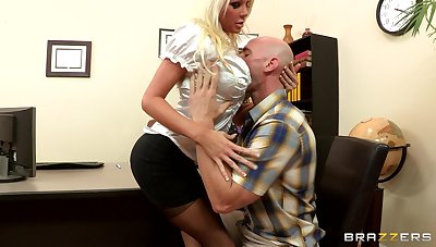Sex on hammer away office table with blonde boss Holly Expense give stockings