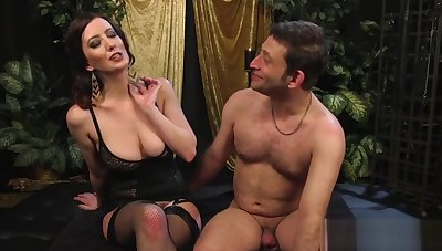 Big-breasted bit of crumpet strapon-fucks her slave