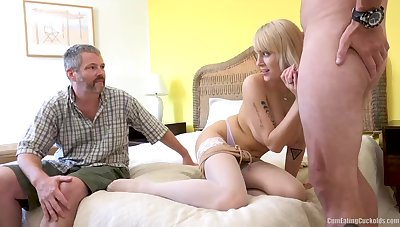 Uncommon cuckold eats cum outsider his lady's pussy, this blonde named Persuasion Law is so nasty
