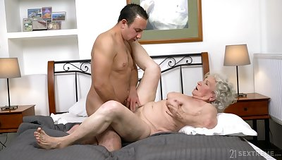 Granny gets the dick in both holes together with loves the jizz on face