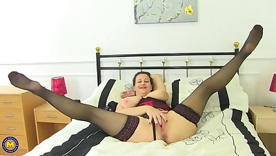 Mature, fat brunette is often using sex toys to satisfy her needs, in the late afternoon