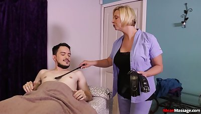 Hot mature promises young lad the stroke handjob